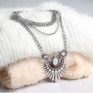 Silver Art Deco Statement Necklace